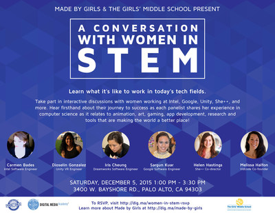 "A thrilling opportunity to meet and hear from some of the great women of tech, ""A Conversation with Women in STEM"" also provides tech exhibits and more. Happening this Saturday in Palo Alto at The Girls' Middle School, between 1 p.m. and 3:30 p.m. Attendance is free and open to all girls!"