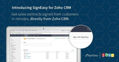SignEasy for Zoho CRM is now available on the Zoho marketplace.