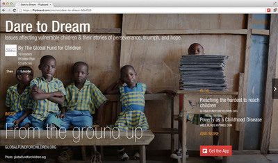 "Flipboard magazine, titled ""Dare to Dream"", curated by Global Fund For Children is part of Flipboard's new ""Big Ideas"" section.  (PRNewsFoto/Flipboard)"