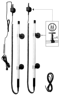 Rotary Lift will unveil its new Tech Lights line of innovative LED shop lights at the upcoming NADA Convention & Expo in New Orleans. Tech Lights feature magnetic clips for mounting in a variety of locations, so users can add light where they need it the most. The two-post lift kit's cords offer more than 15 feet of range for moving the lights to different locations. (PRNewsFoto/Rotary Lift) (PRNewsFoto/ROTARY LIFT)