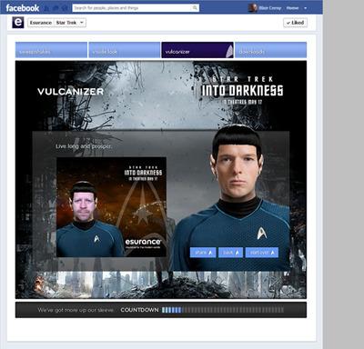 """""""Star Trek Into Darkness"""" VULCANIZER custom Facebook app."""