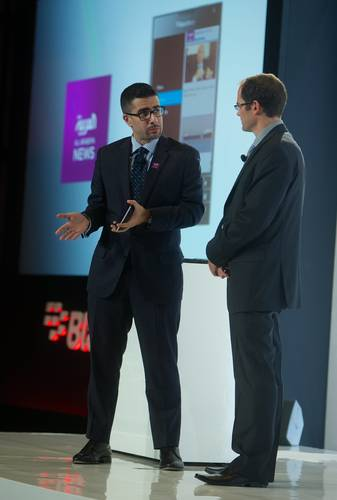 Faisal J. Abbas, Editor in Chief of Al Arabiya News (left) and Christopher Smith, Vice President of Software Applications and Platform at BlackBerry, during the launch of Al Arabiya News' new app for BlackBerry 10. (PRNewsFoto/Al Arabiya News)