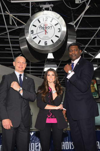 NASCAR star Danica Patrick, Larry Johnson and Adam Graves reveal the brand new Madison Square Garden lobby clocks and exclusive timepiece collection from Tissot Swiss Watches, the Official Timepiece of MSG.  (PRNewsFoto/Tissot Swiss Watches)