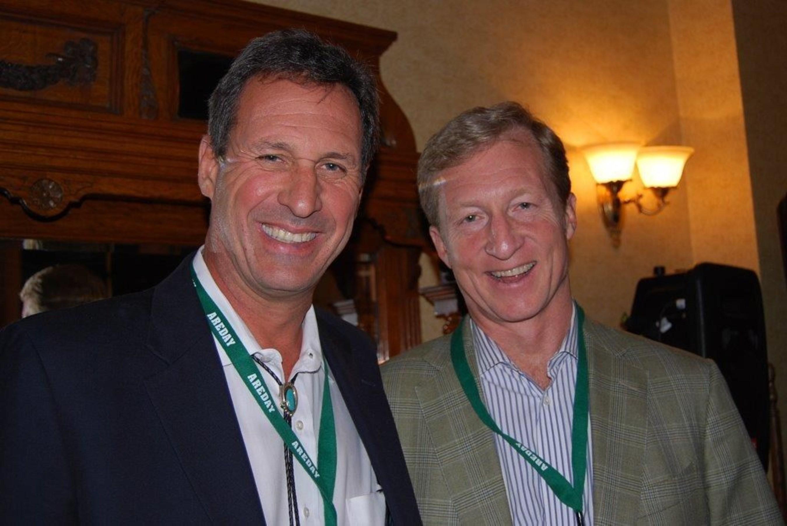 AREDAY CEO Chip Comins & philanthropist Tom Steyer at AREDAY in 2011 (PRNewsFoto/AREDAY)