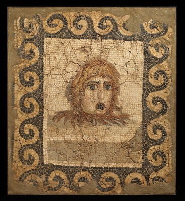 Rupert Wace Ancient Art Limited. Roman Mosaic featuring a theater mask, c. 2nd century A.D. (PRNewsFoto/Winter Antiques Show) (PRNewsFoto/WINTER ANTIQUES SHOW)