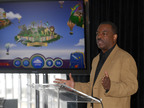 "LeVar Burton introduces the all new Reading Rainbow adventure app to the media, publishers and parents at the ""Reading Rainbow Relaunch"" event, June 19, 2012 New York.  (PRNewsFoto/Reading Rainbow)"