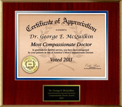 Dr. George E. McQuilkin of Hoboken, NJ is Honored as a Compassionate Doctor.  (PRNewsFoto/American Registry)