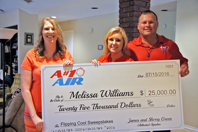 "A#1 Air owners Sherry and James Green present Melissa Williams, winner of the A#1 Air Flippin' Cool Sweepstakes, a $25,000 check. Other prizes she won include a top-of-the-line Lennox 25 SEER Signature Series a/c system, iComfort smart thermostat, tankless water heater, duct cleaning and more. The Flippin' Cool Sweepstakes were sponsored by A#1 Air, Richard Rawlings of the Discovery show ""Fast N' Loud"" and Lennox. The new a/c system came just in time, as Melissa's was about to go out completely."