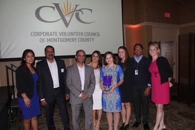 CNSI employees Evelyn Barrenechea, Sri Akula, Vivek Gore, Maya Chavez, Tara Weyer, Heather Guzman, Sai Cherukuri, and Amanda Moskowitz attend the CVC Awards Ceremony