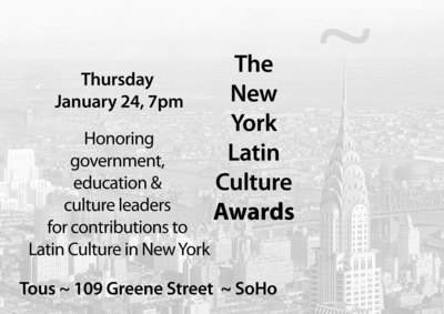 The New York Latin Culture Awards recognize New York's government, education and culture leaders for contributions to Latin culture in New York City in the previous year.  (PRNewsFoto/New York Latin Culture)