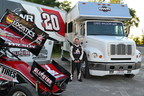 Sprint Car racer Greg Wilson with his race car and truck with a new Custom Glass Solutions windshield with embedded LEDs.