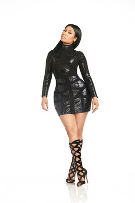 Hand-made leather panel bodycon dress from the Nicki Minaj Couture Capsule Collection, sold exclusively on Nickiminajcollection.com. Nicki Minaj models a leather bodycon dress from her new Couture Capsule Collection for Kmart.
