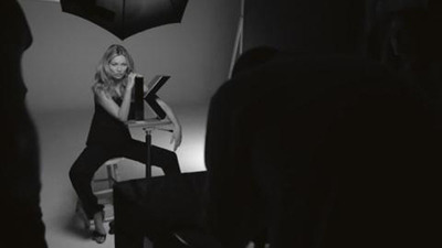 Kate Moss; behind the scenes at the Kerastase Couture Styling launch campaign.