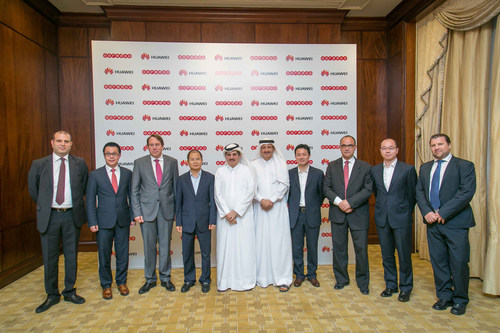Senior Ooredoo and Huawei executives at the signing ceremony