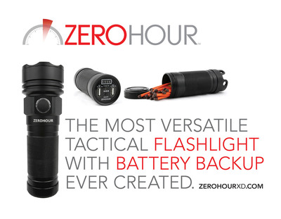 ZeroHour is a tactical-grade flashlight integrated with a USB Battery Backup that can charge smartphones, tablets, and other USB devices.