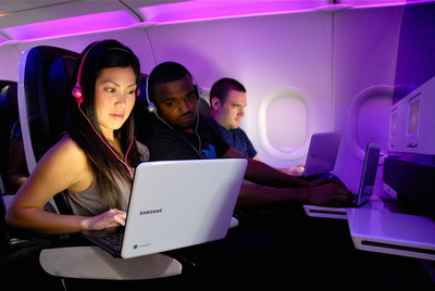 July 1st through Sept. 30th, guests on select Virgin America routes can check out a Chromebook at their departure gate and take the new notebook computer out for a spin onboard.  (PRNewsFoto/Virgin America)