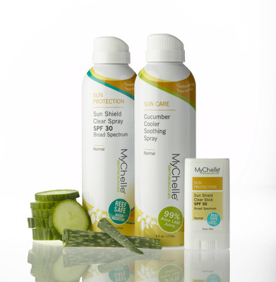 MyChelle is expanding its top-rated Sun Care collection with two mineral-based, broad-spectrum sunscreens and a rehydrating after-sun spray. The multi-benefit, water-resistant Sun Shield Clear Spray SPF 30 and Sun Shield Clear Stick SPF 50 provide UVA and UVB full-spectrum protection to safely shield and protect skin. Following any environmental exposure, the Cucumber Cooler Soothing Spray replaces the skin's natural moisture barrier and helps neutralize free radicals. The new products are now available at select Whole Foods Market stores and MyChelle.com.