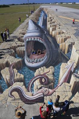 Megalodon Shark 3D Illusion, Sarasota Chalk Festival