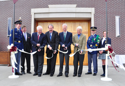 CULVER, Ind. - The White-DeVries Rowing Center at Culver Academies was dedicated on October 5. Helping cut the ribbon were (from left) rowing team captain Bryan DeVries, rowing coach Guy Weaser, alumni donors Miles White (1973), George DeVries III (1977), Mike Huffington (1965), Nixon Lauridsen (1968), and team captains Daniel Gaynor and Celeta Dodge. White is also chairman of The Culver Educational Foundation Board of Trustees. The state-of-the-art building is 24,000 square feet and one of the few rowing facilities in the Midwest to have indoor rowing tanks.  (PRNewsFoto/Culver Academies)