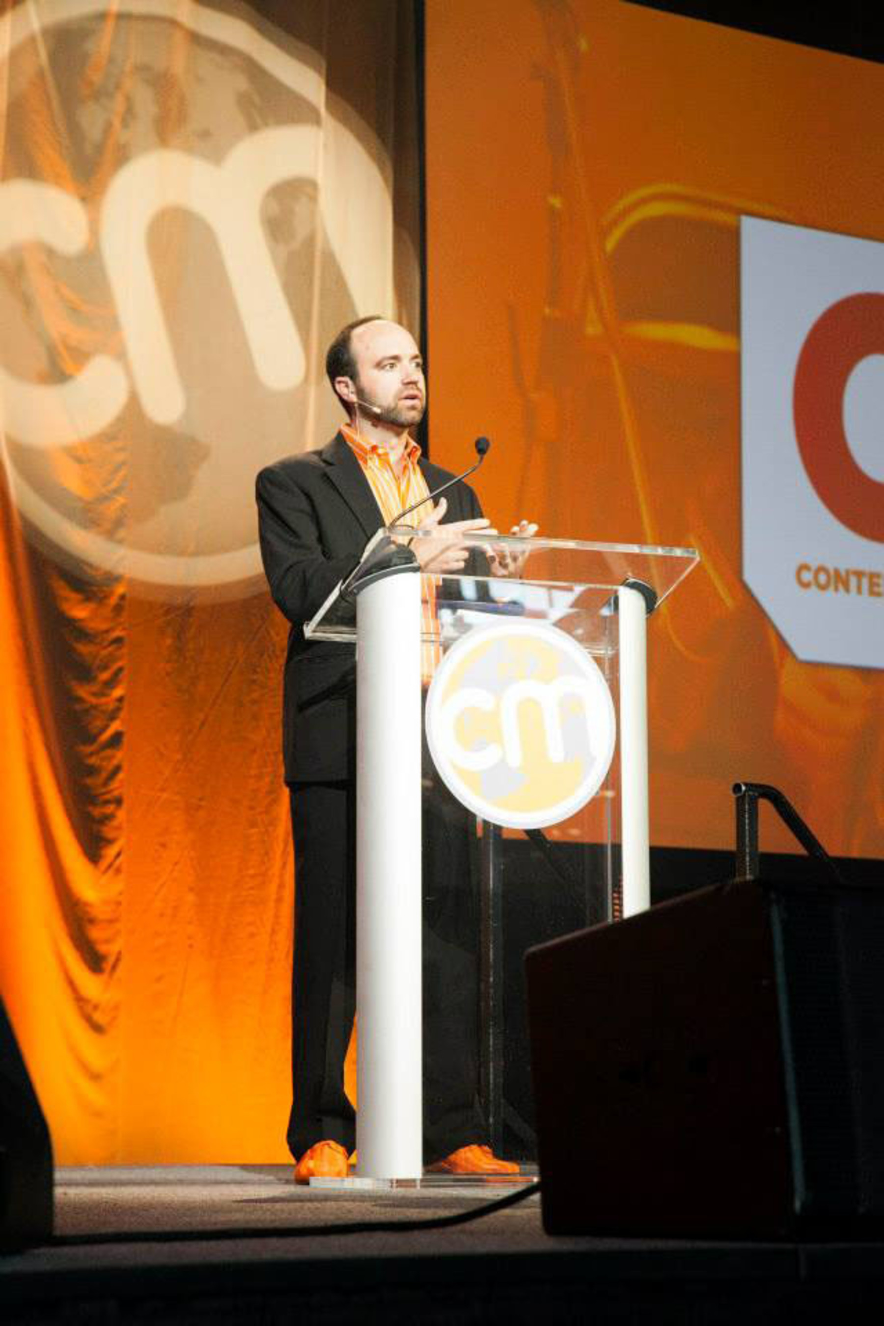 Joe Pulizzi announcing Content Marketing Awards at Content Marketing World 2013 in Cleveland, Ohio. (PRNewsFoto/Content Marketing Institute) (PRNewsFoto/CONTENT MARKETING INSTITUTE)