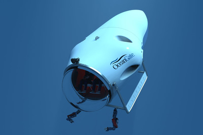 OceanGate's Cyclops manned-submersible will feature a seven-inch thick, individual-fiber-placed carbon fiber hull using proprietary Boeing manufacturing technology. The ability to accurately place thousands of individual strips of pre-impregnated fiber will overcome many of the hard to control variables surrounding traditional filament winding processes and permit the hull to withstand the very high compressive loads at 3,000 meters (300 bar/4,300 psi).  (PRNewsFoto/OceanGate Inc.)
