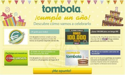 tombola.es celebrates its first anniversary (PRNewsFoto/tombola.es)