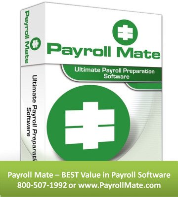 2014 Payroll Mate payroll software helps accountants, payroll service providers, CPAs and payroll processors save time and money by providing efficient payroll management tools at an affordable price. Payroll Mate provides a wealth of features including the ability to automatically calculate net pay, federal withholding tax, social security tax, Medicare, state and local payroll taxes. Payroll Mate also supports different types of payroll pay periods, prints checks, prepares payroll forms 941, 940, 944, W-2, W-3, California DE-6 , California DE-7 , Texas C-3 , Texas C-4, New York NYS-45, Illinois 941 and Illinois UI-3/40. (PRNewsFoto/PayrollMate.com) (PRNewsFoto/PAYROLLMATE.COM)