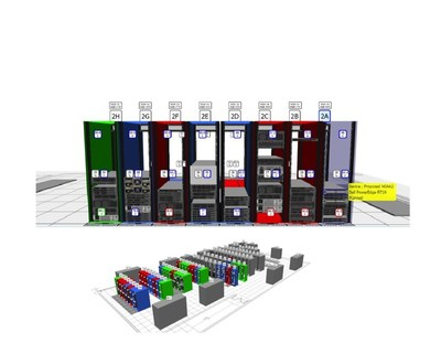 3D Visualizer that enables users to orbit a data center for a bird's-eye view of all equipment as well as a zoomed-in focus on the assets within each cabinet from a standard browser.