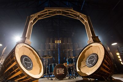 The world's largest barrel oak headphones handcrafted by two local artisans to celebrate the launch of 'Bushmills Live 2014.' Made using almost a dozen giant whiskey barrels, the headphones stand at over 10ft high and will form an interactive centrepiece with music from Bushmills Live artists past and present. Festival-goers will be able to sit between the ear pieces to share a truly unique combination of handcrafted whiskey and music. Whiskey and music fans can win the chance to attend the festival, headlined by The 1975 and held on 11th and 12th June, by entering a draw at www.facebook.com/bushmills. Entries open on Monday, March 17 (St Patrick's Day) at 16:08 GMT.