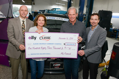 (L) Steve Kapusta and (R) Dave Rowe of Ally present check to Tom and Susan Durant of Classic Chevrolet, to be distributed among 10 local Dallas charities