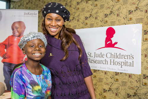 "Eight-year-old Kayla joined GRAMMY Award-winning gospel singer Yolanda Adams on April 4 during the ""Yolanda Adams Morning Show"" to help kick off the annual Radio Cares for St. Jude Kids radiothon.  (PRNewsFoto/St. Jude Children's Research Hospital)"