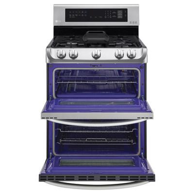 LG's ProBake Convection(tm) gas double oven range interior.