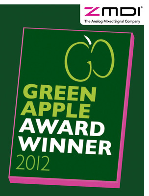 ZMDI, a Global Semiconductor Company, is honored to be a recipient of an Environmental Best Practice 2012 Award at this years Green Apple Awards ceremony at the Palace of Westminster, London.  (PRNewsFoto/ZMDI)