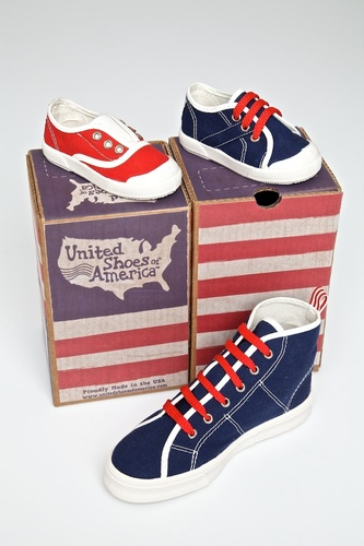 The shoe boxes are designed so they can be placed to form a representation of the United State flag. Top left: Slip-On, top right: Vintage OX Lace, bottom: Vintage Hi-Top Lace (PRNewsFoto/United Shoes of America)