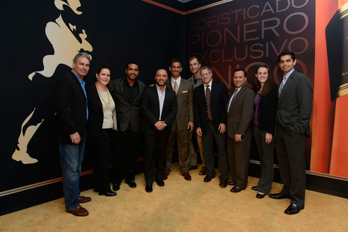 Don Omar, Alex Sensation and Jorge Posada in New York to celebrate the launch of Johnnie Walker's My Label is Black campaign with distinct members of community partners, CareerGear and SER / Don Omar, Alex Sensation y Jorge Posada se reunieron en Nueva York para celebrar el lanzamiento de la campana de Johnnie Walker, My Label is Black, con miembros de los socios comunitarios, CareerGear y SER.  (PRNewsFoto/Johnnie Walker)