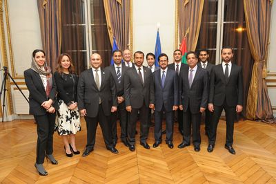 Ibrahim Aljanahi and HE the Ambassador of UAE in France, with Jafza team and UAE Embassy staff (PRNewsFoto/Jafza)
