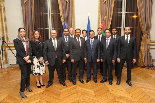 Ibrahim Aljanahi and HE the Ambassador of UAE in France, with Jafza team and UAE Embassy staff ...