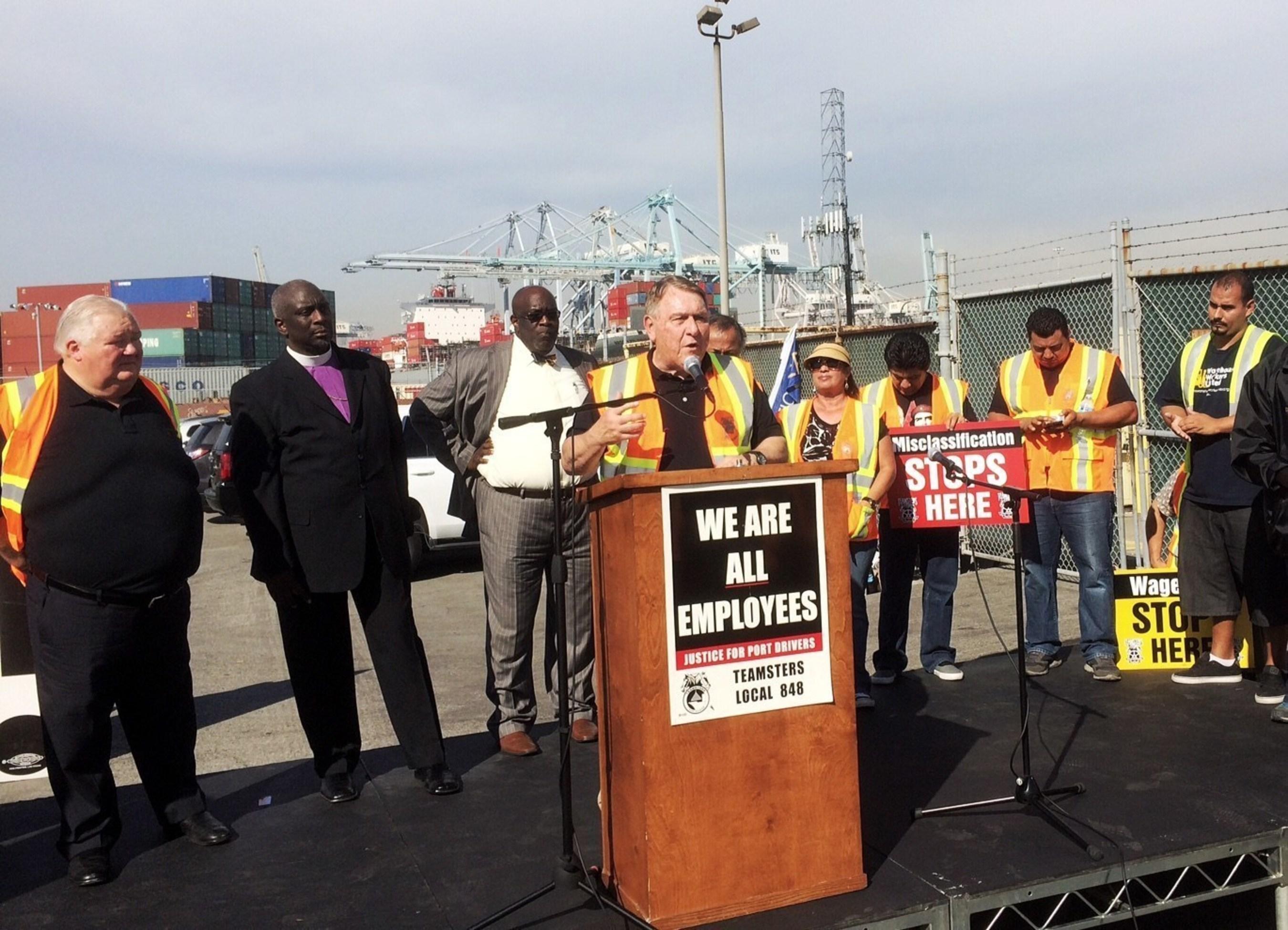 Teamsters General President Jim Hoffa Joins Port Strike in Long Beach
