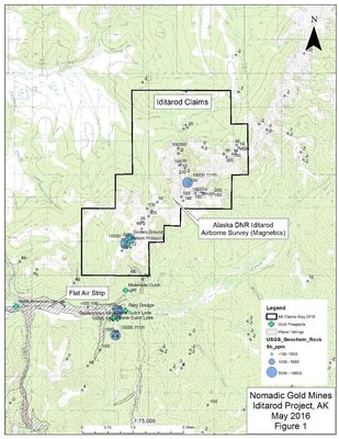 The figure shows the Iditarod Claim block with topography; the USGS rock samples with antimony values; the DGGS Air mag anomaly; gold prospects; placer tailings and the Flat, Alaska airstrip.