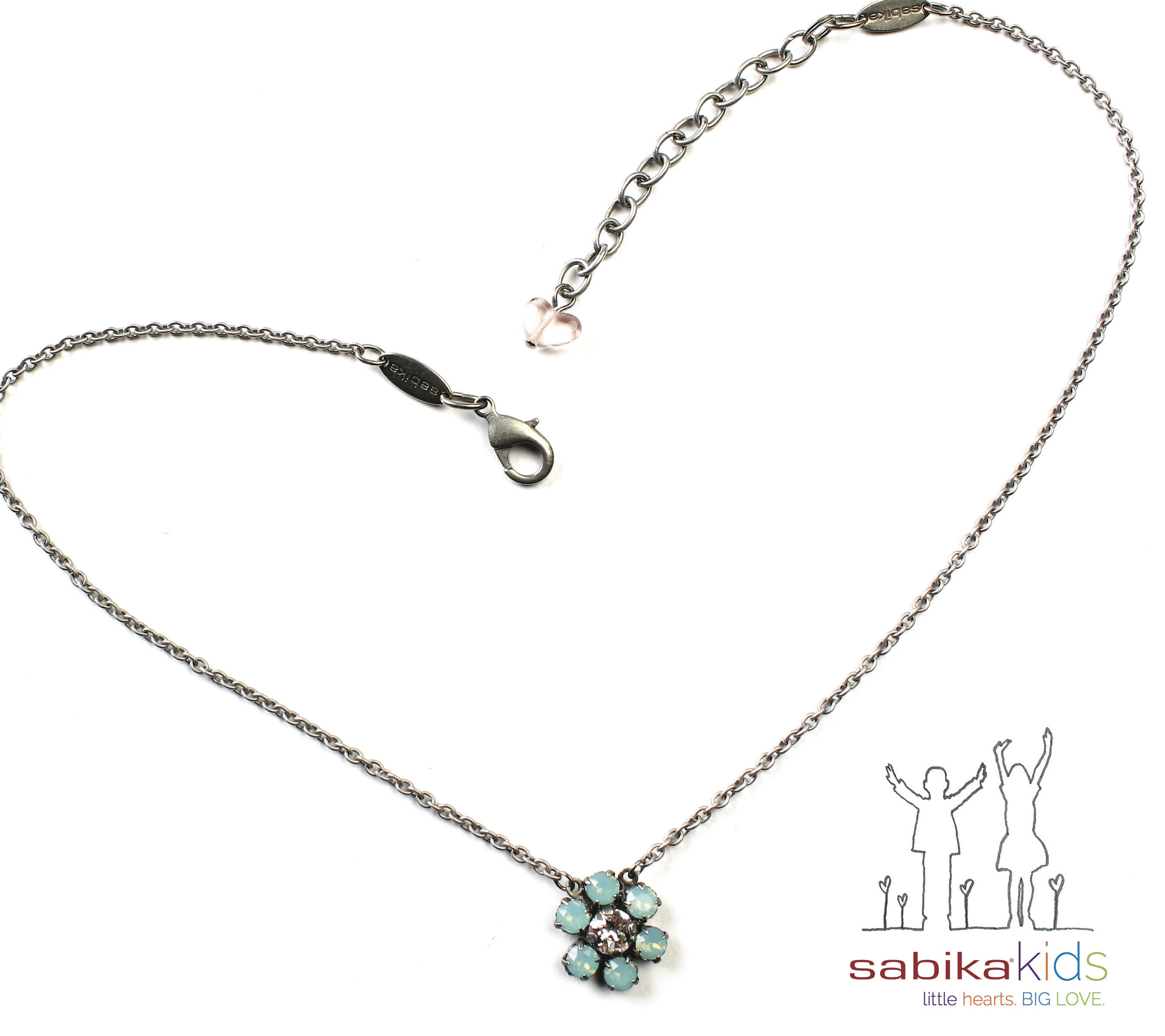 The Power of a Little Flower! $25 from every Little Hearts Sabika Daisy(R) Necklace sold is donated to help abused children during Sabikakids month this April. For more information, www.sabika-jewelry.com.
