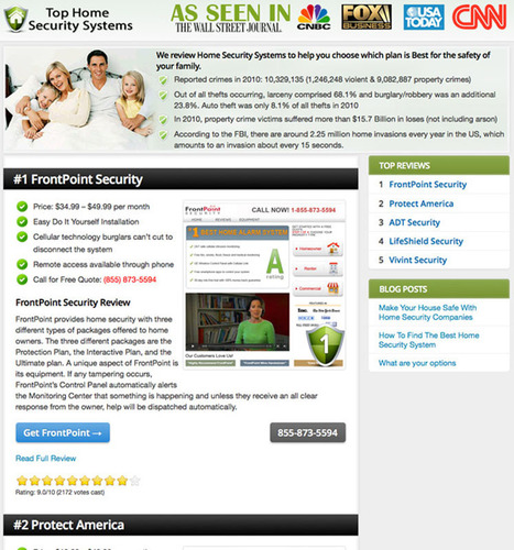 Top Home Security Systems Announces that FrontPoint is the Top Ranked Security Company in the U.S. ...