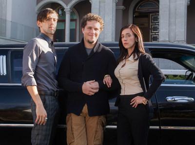 Luis Gerardo Mendez, Gaz Alazraki, and Mariana Trevino (Credit: Daniel Daza for Netflix)