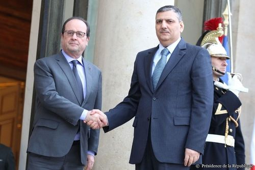 Dr. Hijab meets French President Francois Hollande and Foreign Minister Laurent Fabius (PRNewsFoto/Office of Dr Riad Hijab)