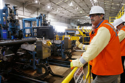 U. S. Steel CEO Mario Longhi tours Lone Star Tubular Operations.  (PRNewsFoto/United States Steel Corporation)