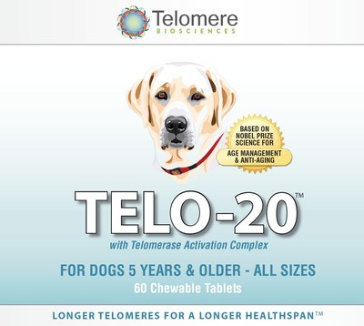New TELO-20 for Dogs; the World's First Telomere Supplement for Dogs--based on Nobel-Prize Winning Telomere Science--to Promote: Healthy Aging and Longevity in Dogs 5 to 15+ (PRNewsFoto/Telomere Biosciences, LLC)