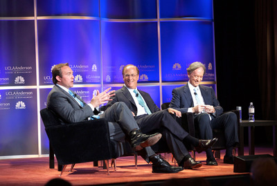 (From left) CNBC's Brian Sullivan on stage with BlackRock Chairman and CEO Larry Fink and PIMCO Founder and Co-CIO Bill Gross during an Oct. 3, 2013 event hosted by UCLA Anderson School of Management. (Photo by Aaron Schasse)