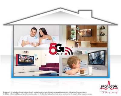 Broadcom's 5G WiFi solutions simplify streaming content throughout the home.  (PRNewsFoto/Broadcom Corporation/BRCM Mobile & Wireless)