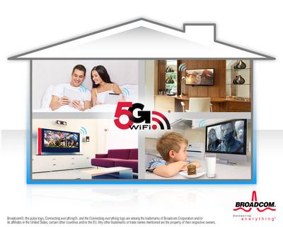 Broadcom's 5G WiFi solutions simplify streaming content throughout the home.  (PRNewsFoto/Broadcom Corporation/BRCM Mobile & Wireless)