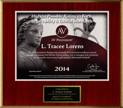 Attorney L. Tracee Lorens has Achieved the AV Preeminent Rating - the Highest Possible Rating from Martindale-Hubbell.