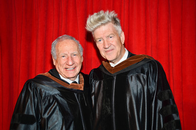 "MEL BROOKS AND DAVID LYNCH RECEIVE HONORARY DEGREES FROM THE AMERICAN FILM INSTITUTE FOR ""CONTRIBUTION OF DISTINCTION TO THE ART OF THE MOVING IMAGE"" DURING 2012 AFI CONSERVATORY COMMENCEMENT OF #1 FILM SCHOOL IN THE WORLD HELD AT HISTORIC GRAUMAN'S CHINESE THEATRE ON JUNE 13, 2012.  BOTH ARTISTS WORKED TOGETHER ON THE ACADEMY AWARD WINNING THE ELEPHANT MAN (1980), WITH LYNCH AS DIRECTOR AND SCREENWRITER AND BROOKS AS EXECUTIVE PRODUCER.  (PRNewsFoto/American Film Institute)"